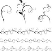 Set of decorative floral elements and borders for design — Stock Vector