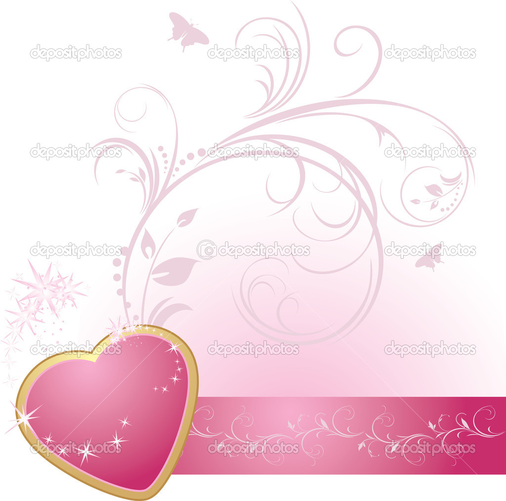Pink heart with ornament on the decorative ribbon. Vector illustration — Stock Vector #5909485