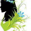 Portrait of woman with flowers in hair. Silhouette — Stock Vector