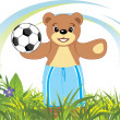 Stock Vector: Bruin with soccer ball on meadow