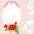 Bouquet of roses and lilies in the decorative frame with hearts — Stock Vector