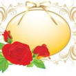 Royalty-Free Stock Vector Image: Three red roses and the decorative frame with golden bow