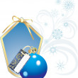 Blue Christmas ball with card and snowflakes — Stock Vector