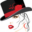 Portrait of beautiful woman in a elegant hat with red rose — Stock Vector