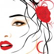 Royalty-Free Stock Vector Image: Portrait of beautiful woman with red rose in hair