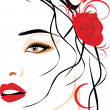Portrait of beautiful woman with red rose in hair — Stock Vector