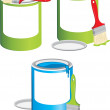 Stockvector : Jars with paint and brushes