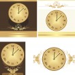 Stock Vector: Collection of ancient clocks