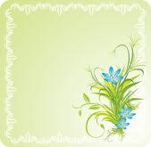 Bukiet kwiatów niebieski z trawy ozdobne ramki — Wektor stockowy