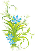 Bouquet of blue flowers with grass — Stock Vector