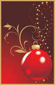 Christmas red ball on the decorative background — Vector de stock