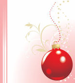 Christmas red ball on the decorative background. Holiday card — Stock Vector