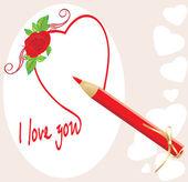 Lápiz rojo y corazón con rosa. tarjeta de san valentín — Vector de stock