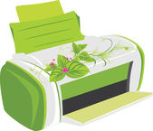 Printer with spring bouquet — Stockvector