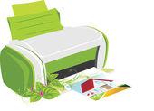 Publikowanie drukarki z wiosny bukiet — Wektor stockowy