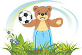 Bruin with soccer ball on the meadow — Stock Vector