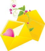 Two yellow envelopes with pink heart. Valentines day — Stock Vector