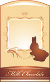 Chocolate rabbit. Background for wrapping — Vector de stock