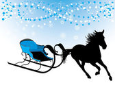 Horse with sledges. Composition for Christmas card — Vector de stock