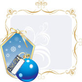 Blue ball and snowflakes in the decorative frame — Stock Vector