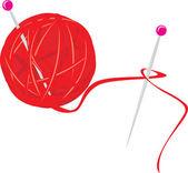 スポークで編むことのためのスレッドのボール — ストックベクタ