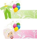 Colorful balloons and baby suits. Two banners — Stock Vector