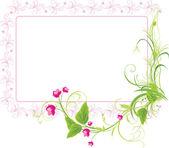 Kvist med rosa blommor. ram — Stockvektor
