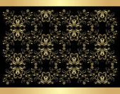 Decorative retro background. Golden isolated on the black — Stock Vector