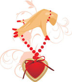 женская рука с сердцем — Cтоковый вектор