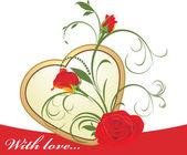 Rote rosen mit floral ornament und goldenes herz — Stockvektor