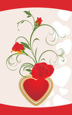 Red roses with floral ornament and heart. Valentines card — Stock Vector