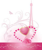 Pink rose with heart and Eiffel tower. Holiday banner for Valentines day — Stock Vector