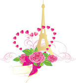 Bouquet of pink roses and Eiffel tower. Holiday composition for Valentines — Stock Vector