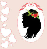 Portrait of beautiful woman with bouquet in hair. Valentines card — Stock Vector