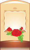 Red roses on the decorative background — Stock Vector