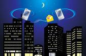 Due telefoni mobili sullo sfondo della città di notte — Vettoriale Stock