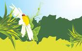Kamille en lieveheersbeestje onder gras. banner — Stockvector