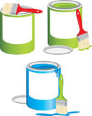 Jars with a paint and brushes — Stock Vector