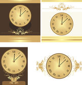 Collection of ancient clocks — Stock Vector