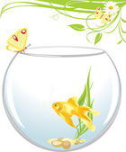 Goldfish and butterfly sitting on an aquarium. Spring composition — Stock Vector