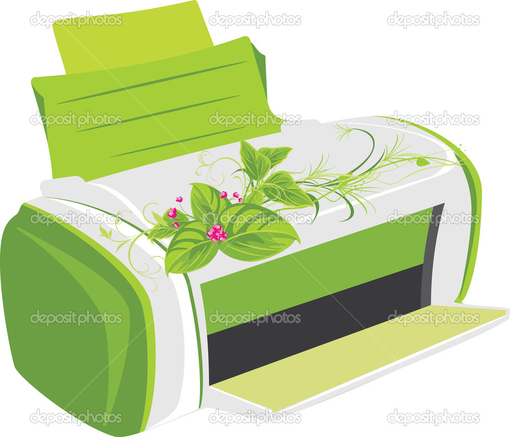 Printer with spring bouquet. Vector illustration — Stock Vector #5910449
