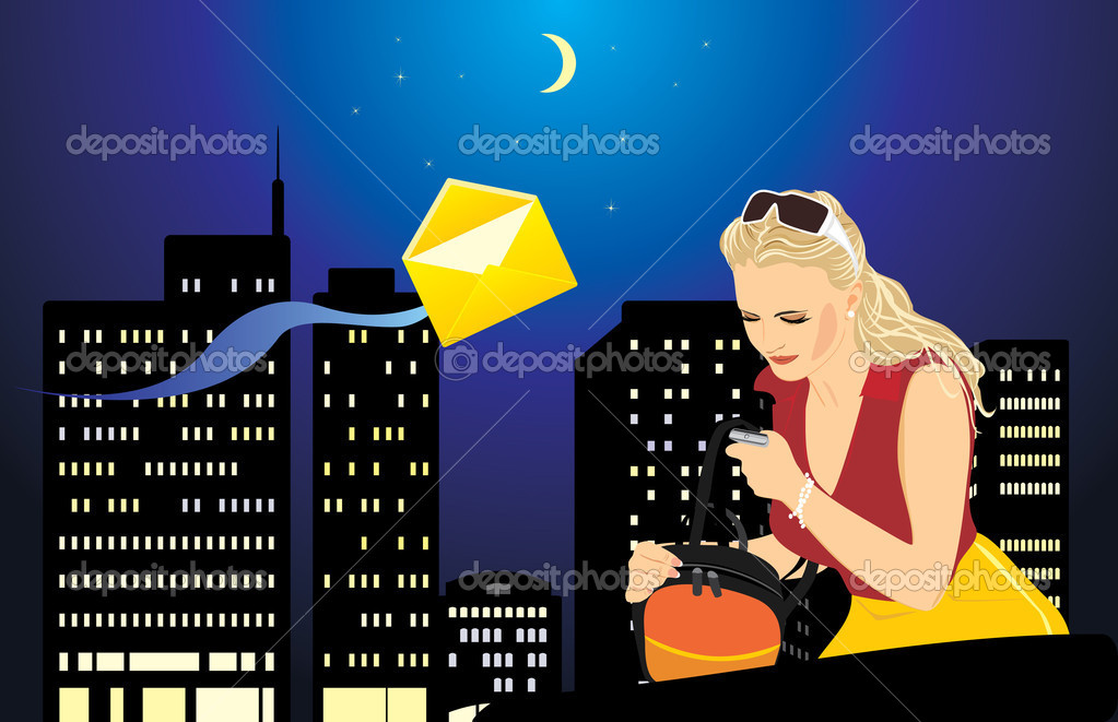 Woman with a mobile telephone and bag on the background of night city. Vector illustration — Stock Vector #5916289