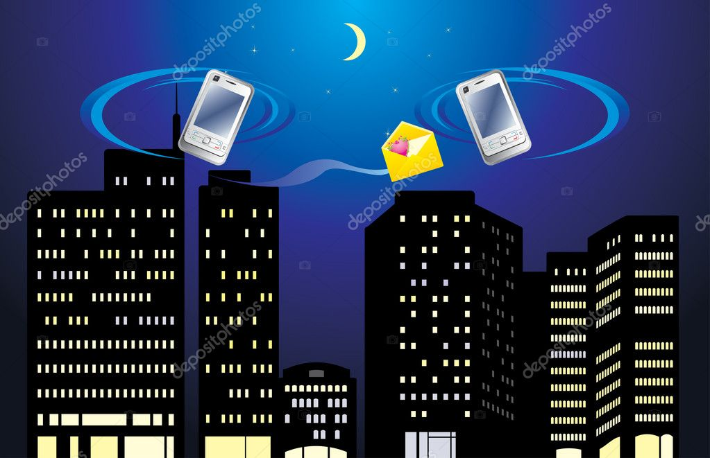 Two mobile telephones on the background of night city. Vector illustration — Stock Vector #5916292