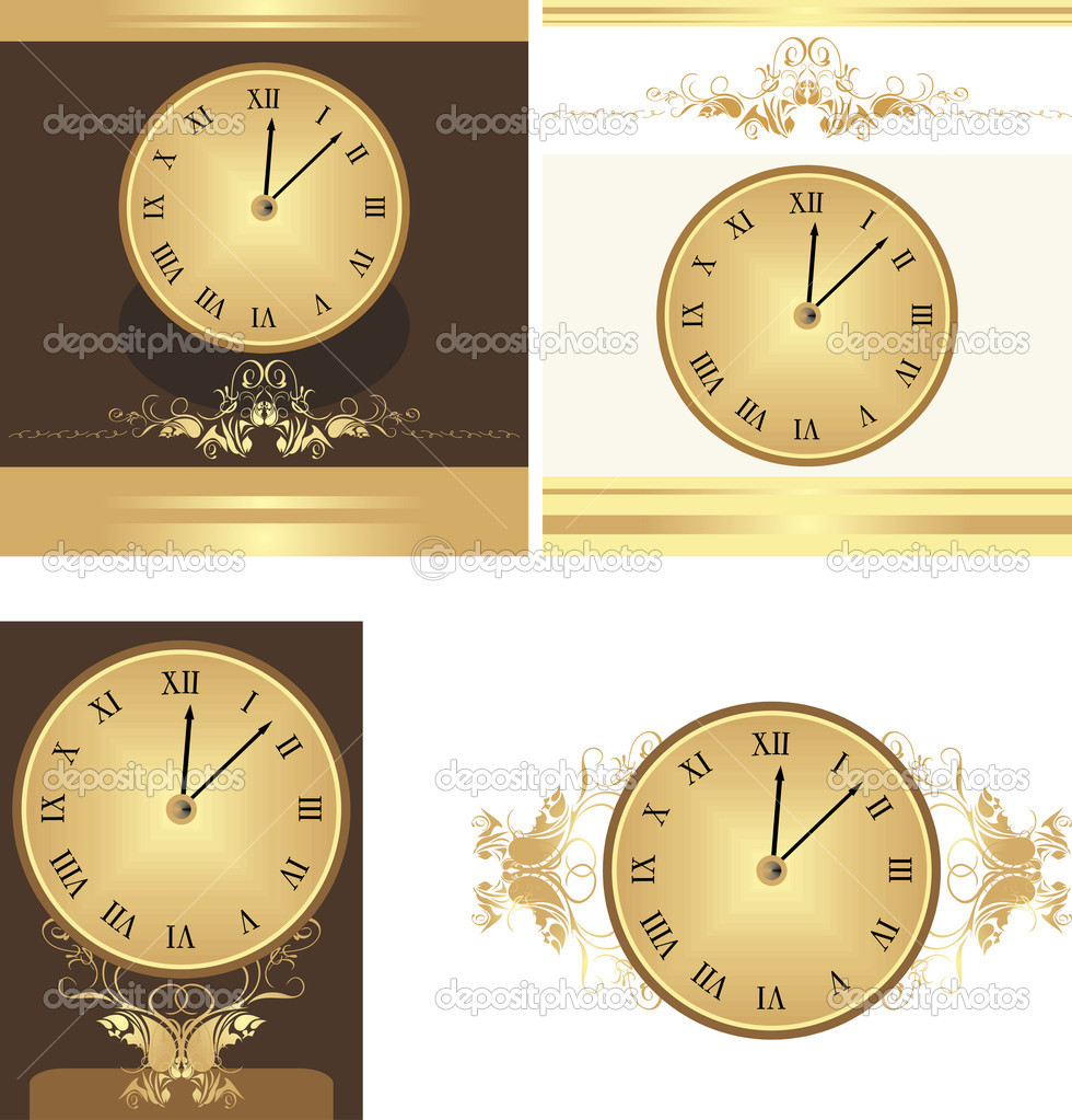 Collection of ancient clocks. Vector illustration — Stock Vector #5916356