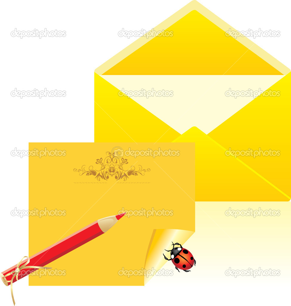 Letter and open envelope. Vector illustration — Stock Vector #5917485