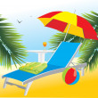 Empty deckchair under an umbrella — Stock Vector