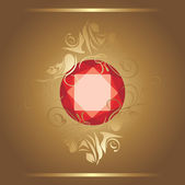 Shining ruby on the decorative background — Stock Vector