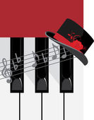 Piano keys and female hat — Stock Vector