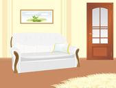 Divano con cuscino. frammento del salotto — Vettoriale Stock