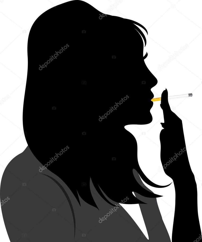 吸烟的女人的剪影.矢量插画 — 矢量图片作者 teddy2007b